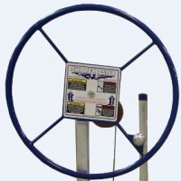 small painted boat lift wheel