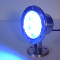 dock lighting - 6 Watt BLUE LED stainless dock light - 480 Total Lumens - 110 volt