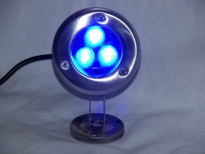 dock lighting - 3 Watt BLUE LED stainless dock light - 240 Total Lumens - 110 volt