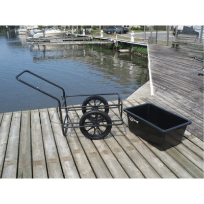 Cart with pneumatic tires and plastic bucket