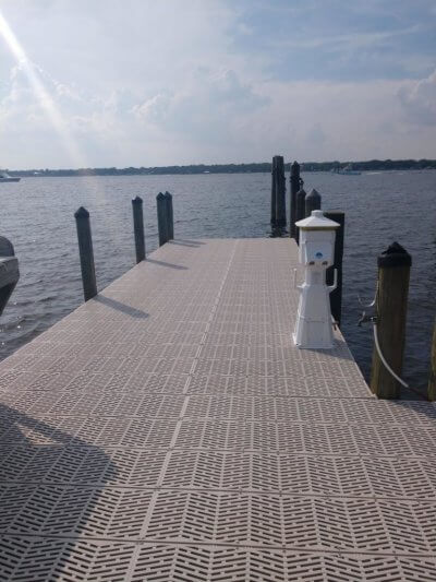 Sure step decking with power pedestal on it